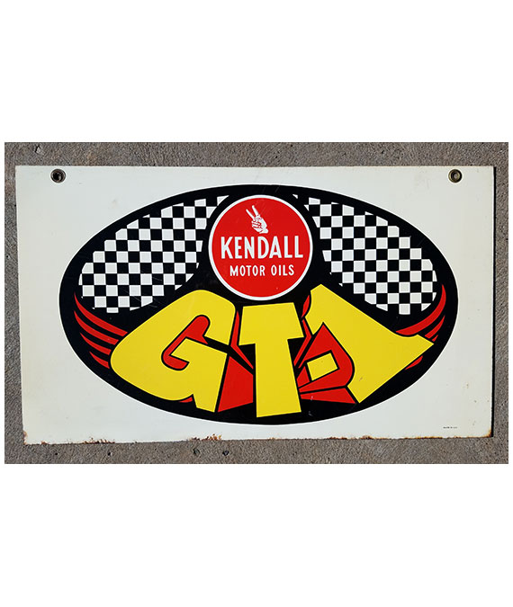 KENDALL-GT-1-MOTOR-OIL-GAS-STATION-DOUBLE-SIDE-SIGN-MUSCLE-CAR-ERA-SIGN