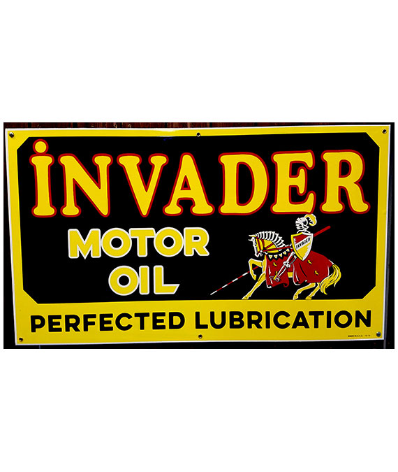 1940s-ARTWORK-INVADER-MOTOR-OIL-PORCELAIN-SIGN
