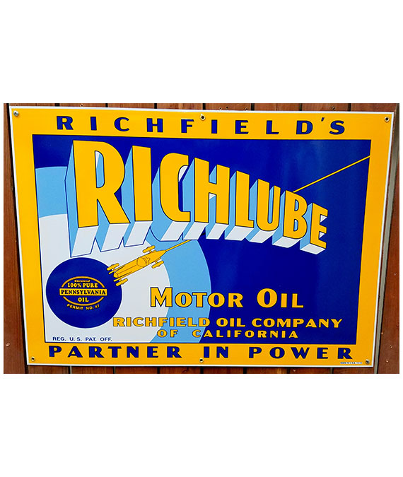1930s-RICHLUBE-MOTOR-OIL-PORCELAIN-SIGN