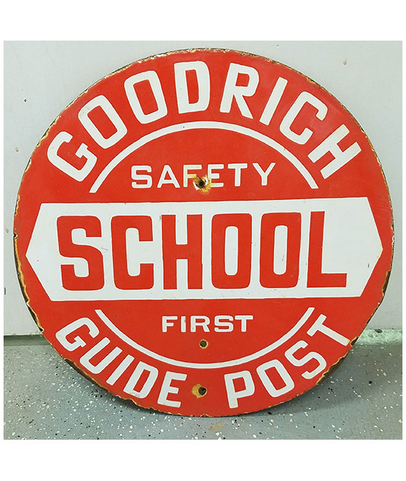 1930s-GOODRICH-SCHOOL-GUIDE-POST-PORCELAIN-SIGN