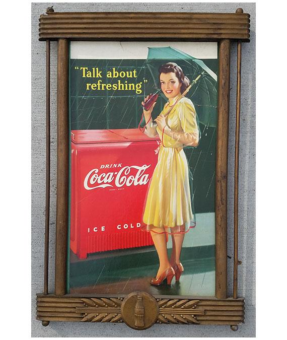 1942-COCA-COLA-CARDBOARD-SIGN-POSTER-ORIGINAL-FRAME-3