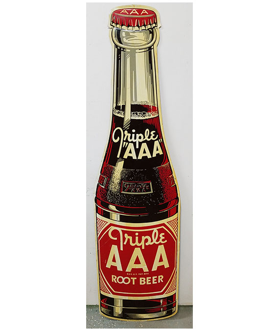 1950s TRIPLE AAA ROOT BEER LARGE DIE-CUT BOTTLE SIGN
