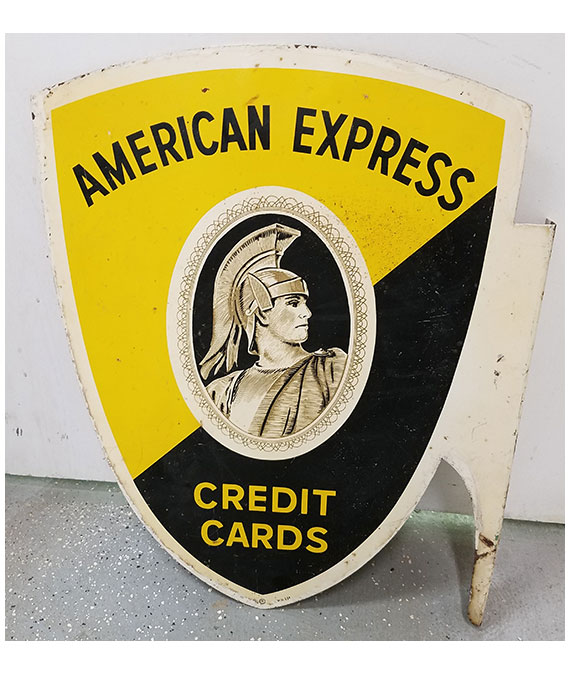 1958-AMERICAN-EXPRESS-CARD-CARDS-DOUBLE-SIDED-FLANGE-GAS-STATION-SIGN-2