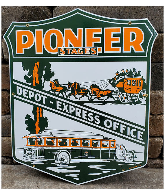 PORCELAIN-1930s-DOUBLE-SIDE-PIONEER-STAGES-SIGN