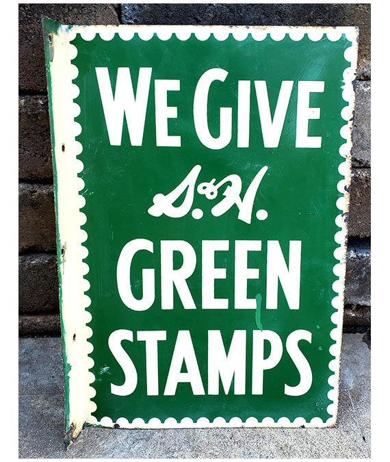 1950s-WE-GIVE-S&H-GREEN-STAMPS-GAS-STATION-DOUBLE-SIDED-FLANGE-SIGN