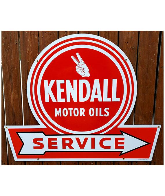KENDALL-motor-oils-service-arrow-porcelain-sign