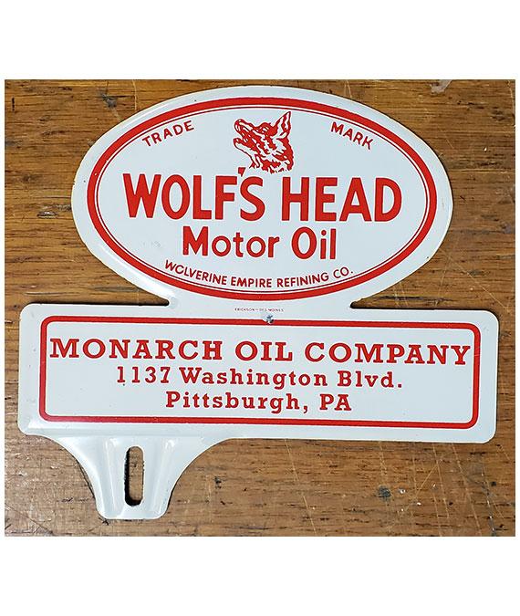 1940s-1950s-WOLFs-HEAD-MOTOR-OIL-LICENSE-PLATE-TOPPER-1