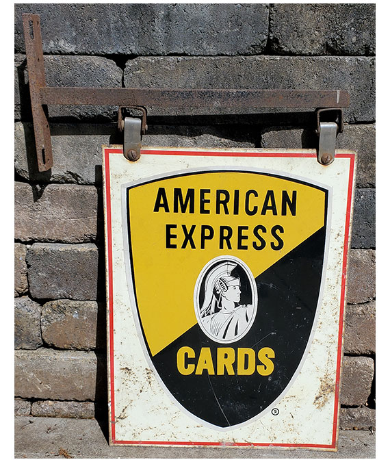 1958-AMERICAN-EXPRESS-CREDIT-CARDS-DOUBLE-SIDED-GAS-STATION-SIGN