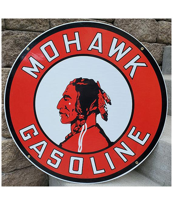 1930s-MOHAWK-DROP-FEATHER-MOTOR-OIL-PORCELAIN-SIGN