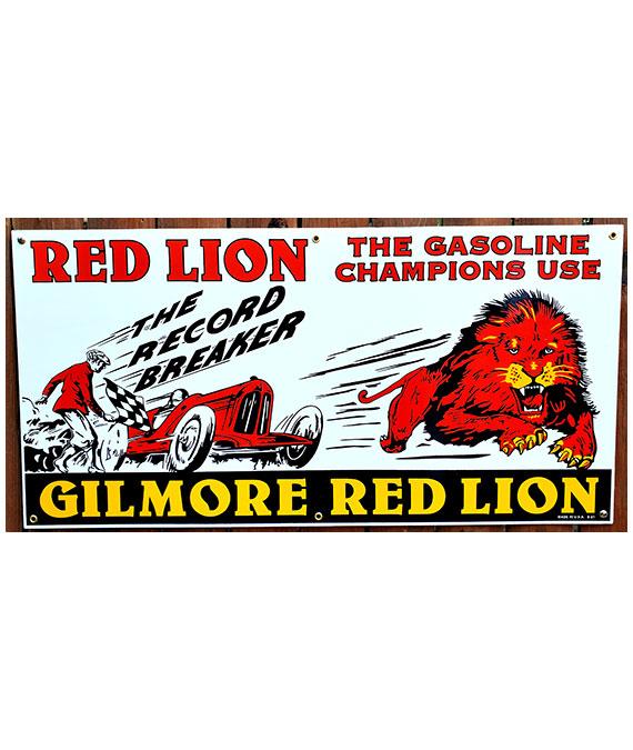 1920s-1930s-STYLE-GILMORE-RED-LION-GASOLINE-PORCELAIN-SIGN